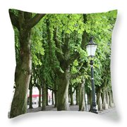 European Park Trees Throw Pillow