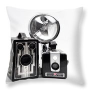 European Travelers Mother And Daughter Cameras Bw Throw Pillow
