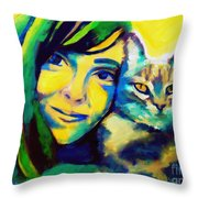 Evangelina And The Cat Throw Pillow