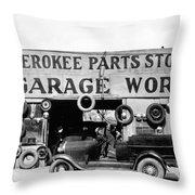 Evans Garage, 1936 Throw Pillow