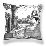 Eve Offers Adam An Apple Throw Pillow