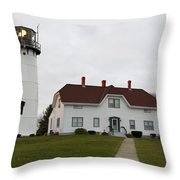 Evening At Chatham  Lighthouse Throw Pillow