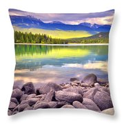 Evening At Lake Annette Throw Pillow
