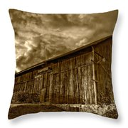 Evening Barn Sepia Throw Pillow