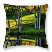 Evening Birches Painted Throw Pillow