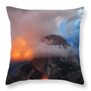 Evening Glow On Half Dome In Yosemite Throw Pillow