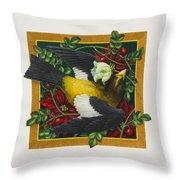 Evening Grosbeak Throw Pillow