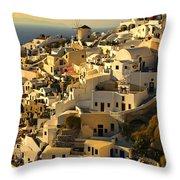 evening in Oia Throw Pillow by Meirion Matthias