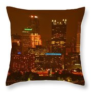 Evening In The City Of Champions Throw Pillow