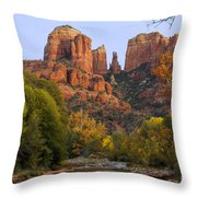 Evening Light On Cathedral Rock Throw Pillow