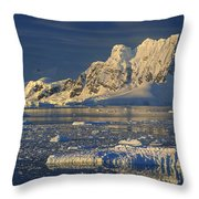 Evening Light On Peaks Paradise Bay Throw Pillow