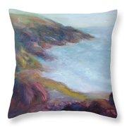 Evening Light On The Oregon Coast - Original Impressionist Oil Painting - Plein Air Throw Pillow