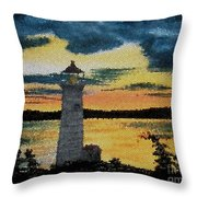 Evening Lighthouse In Stained Glass Throw Pillow