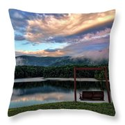 Evening Mist In August Over Lake Tamarack Throw Pillow