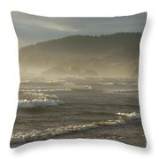 Evening Mist Over Ecola State Park Throw Pillow