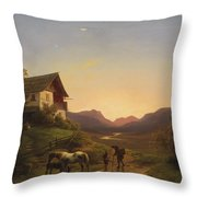 Evening Mood In Front Of A Wide Landscape With Horses Throw Pillow