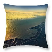 Evening Ocean Shore From The Airplane Window Throw Pillow