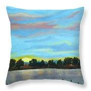 Evening On Ema River Throw Pillow