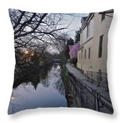 Evening On The Canal Path Throw Pillow