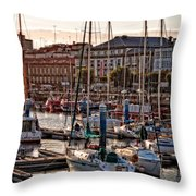 Evening On The Harbor  Throw Pillow