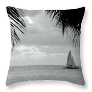 Evening Sail In Paradise Throw Pillow