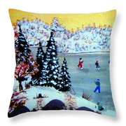 Evening Skating Throw Pillow