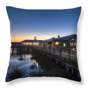 Evening Sky At The Dock Throw Pillow by Debra and Dave Vanderlaan