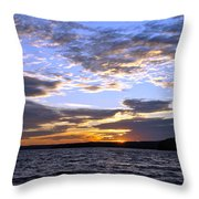Evening Sky Over Lake Throw Pillow by Olivier Le Queinec