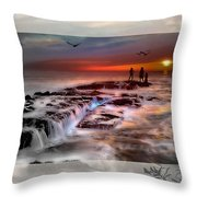 Evening Stroll At The Beach -featured In 'cards For All Occasions'comfortable Art'  'digital Veil Throw Pillow