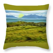 Evening Stroll By The Seashore Throw Pillow