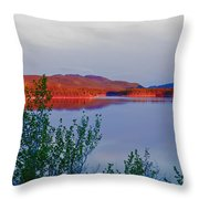Evening Sun Glow On Calm Twin Lakes Yukon Canada Throw Pillow