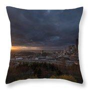 Evening Sunlit Seattle Skyline Throw Pillow