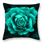 Evening Teal Rose Flower Throw Pillow