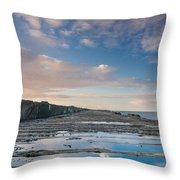 Evening View Down The South Jetty Throw Pillow