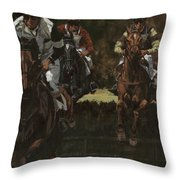 Eventing Horses Over Jump Throw Pillow
