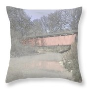 Everett Covered Bridge Throw Pillow by Jack R Perry