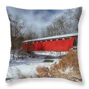 Everett Rd. Covered Bridge Throw Pillow
