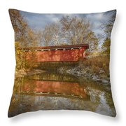 Everett Rd. Covered Bridge In Fall Throw Pillow