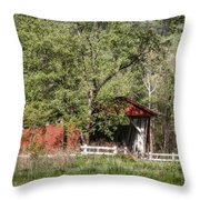 Everett Road Covered Bridge Throw Pillow