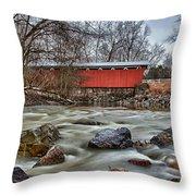Everett Road Covered Bridge Throw Pillow