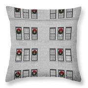 Evergreen Christmas Wreaths Abstract Throw Pillow