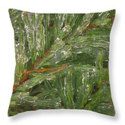 Evergreen Covered In Ice Throw Pillow