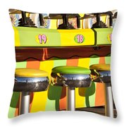 Evergreen State Fair Midway Game With Coloful Stools And Squirt  Throw Pillow