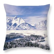 Evergreen Trees On A Snow Covered Throw Pillow