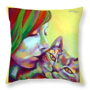 Evi And The Cat Throw Pillow