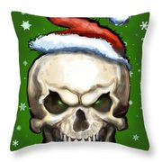 Evil Christmas Skull Throw Pillow