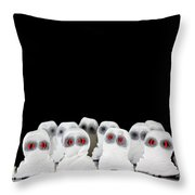 Evil White Ghosts In A Crowd With Black Space Throw Pillow