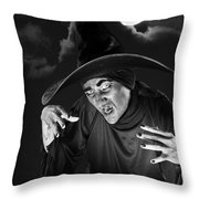 Evil Witch Under A Full Moon Throw Pillow