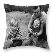 Ex Green Beret Barry Sadler In Target Practice With Son's Thor And Baron Tucson Arizona 1971 Throw Pillow