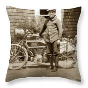 Excalibur Motorcycle California Circa 1915 Throw Pillow
